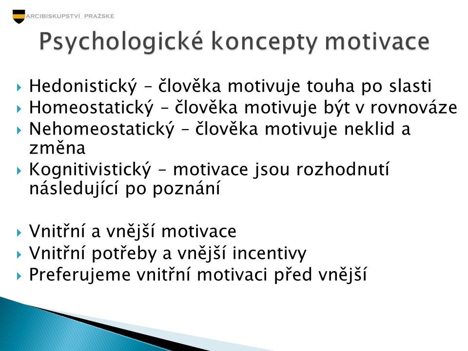  Hedonistický – člověka motivuje touha po slasti  Homeostatický – člověka motivuje být v rovnováze  Nehomeostatický – člověka motivuje neklid a změ