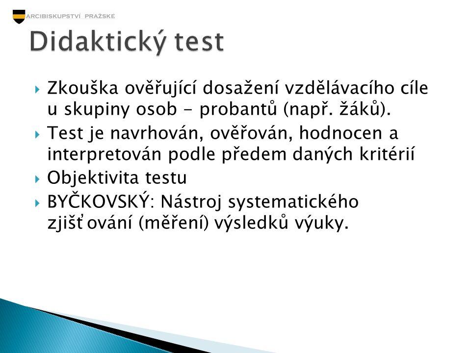  Zkouška ověřující dosažení vzdělávacího cíle u skupiny osob - probantů (např. žáků).  Test je navrhován, ověřován, hodnocen a interpretován podle p