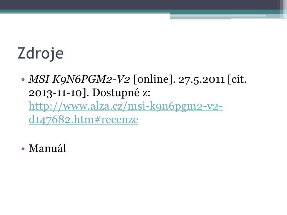 Zdroje MSI K9N6PGM2-V2 [online].27.5.2011 [cit. 2013-11-10].