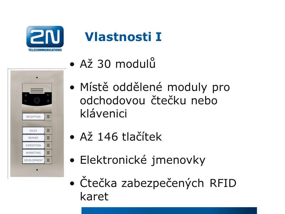 Vlastnosti I Až 30 modulů Místě oddělené moduly pro odchodovou čtečku nebo klávenici Až 146 tlačítek Elektronické jmenovky Čtečka zabezpečených RFID karet