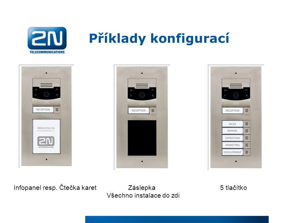Příklady konfigurací Infopanel resp. Čtečka karet Záslepka 5 tlačítko Všechno instalace do zdi