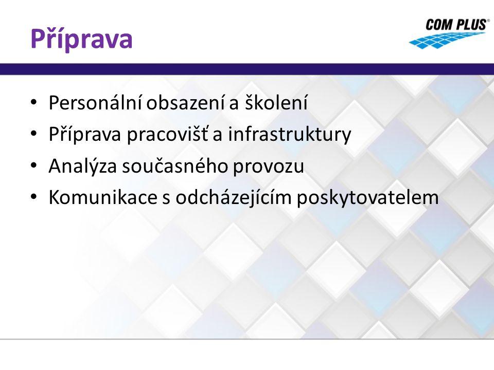 Příprava Personální obsazení a školení Příprava pracovišť a infrastruktury Analýza současného provozu Komunikace s odcházejícím poskytovatelem