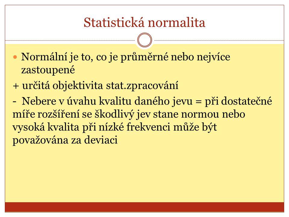 Statistická normalita Normální je to, co je průměrné nebo nejvíce zastoupené + určitá objektivita stat.zpracování - Nebere v úvahu kvalitu daného jevu