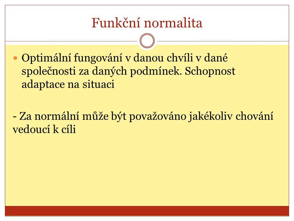 Funkční normalita Optimální fungování v danou chvíli v dané společnosti za daných podmínek. Schopnost adaptace na situaci - Za normální může být považ