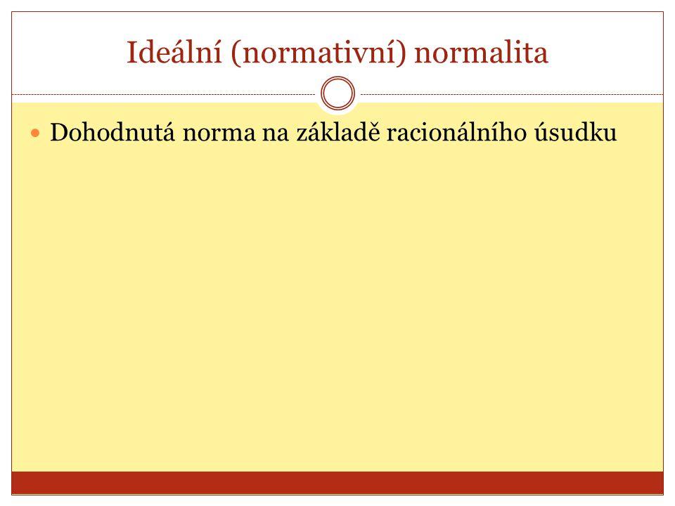 Ideální (normativní) normalita Dohodnutá norma na základě racionálního úsudku
