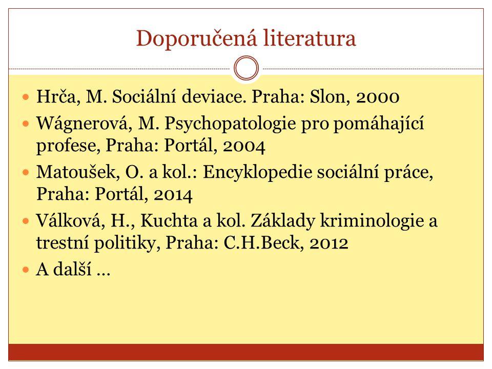 Doporučená literatura Hrča, M. Sociální deviace. Praha: Slon, 2000 Wágnerová, M. Psychopatologie pro pomáhající profese, Praha: Portál, 2004 Matoušek,