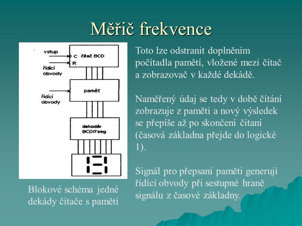 Měřič frekvence Toto lze odstranit doplněním počítadla pamětí, vložené mezi čítač a zobrazovač v každé dekádě. Naměřený údaj se tedy v době čítání zob
