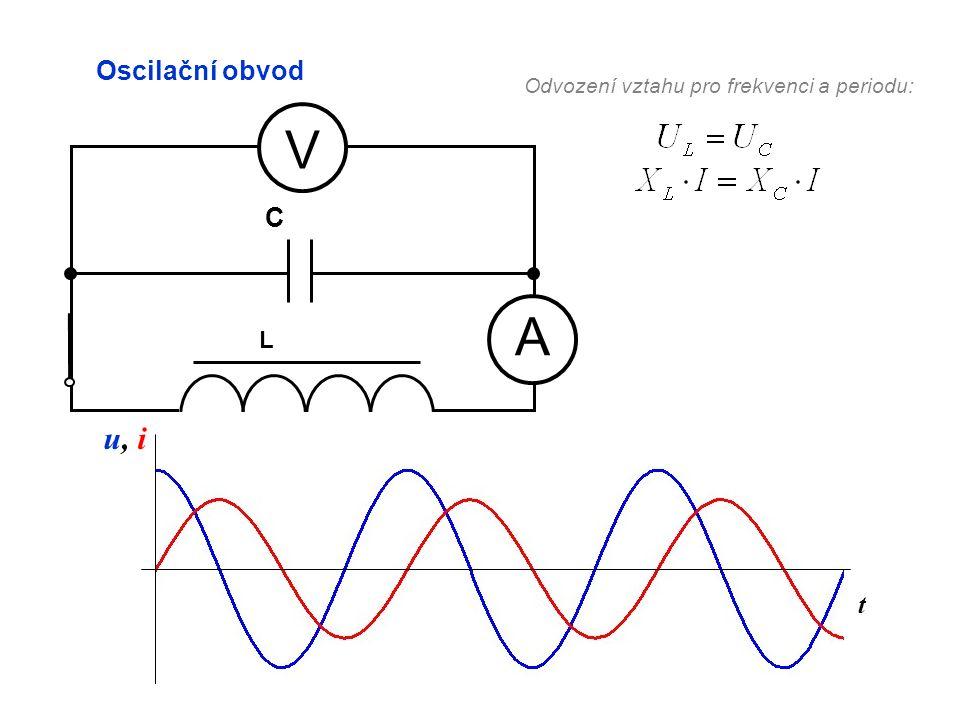 t Oscilační obvod A V L C u, iu, i Odvození vztahu pro frekvenci a periodu:
