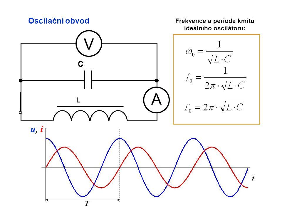 t Oscilační obvod A V L C u, iu, i Frekvence a perioda kmitů ideálního oscilátoru: T