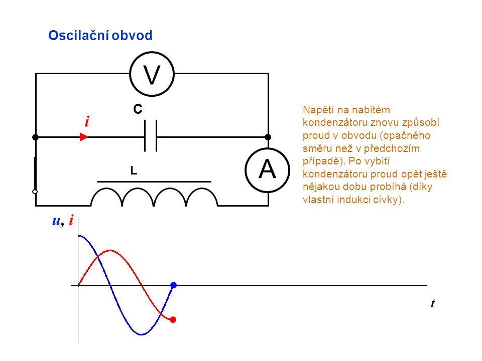 t Oscilační obvod A V L C u, iu, i Napětí na nabitém kondenzátoru znovu způsobí proud v obvodu (opačného směru než v předchozím případě). Po vybití ko