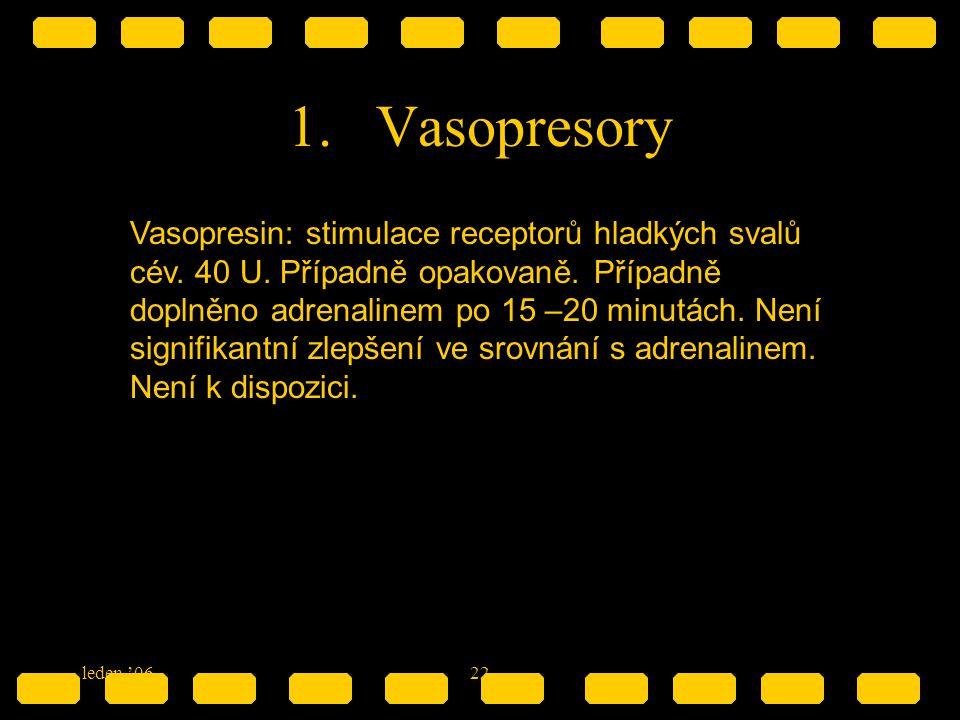 leden '0622 1.Vasopresory Vasopresin: stimulace receptorů hladkých svalů cév. 40 U. Případně opakovaně. Případně doplněno adrenalinem po 15 –20 minutá
