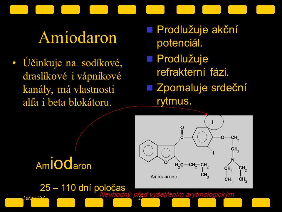 leden '0623 Amiodaron Účinkuje na sodíkové, draslíkové i vápníkové kanály, má vlastnosti alfa i beta blokátoru. Prodlužuje akční potenciál. Prodlužuje