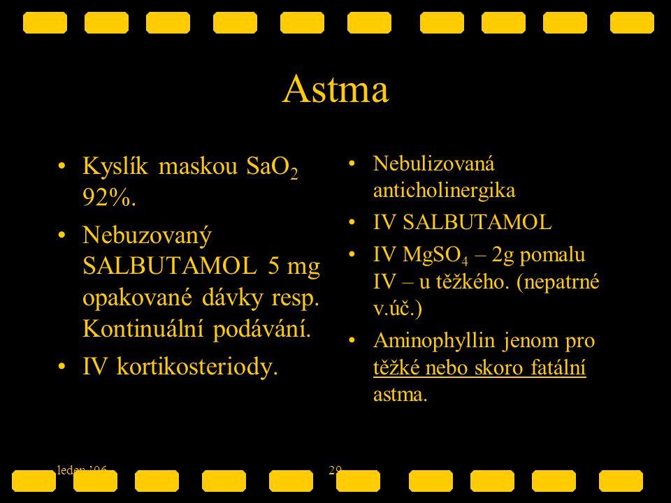 leden '0629 Astma Kyslík maskou SaO 2 92%. Nebuzovaný SALBUTAMOL 5 mg opakované dávky resp. Kontinuální podávání. IV kortikosteriody. Nebulizovaná ant