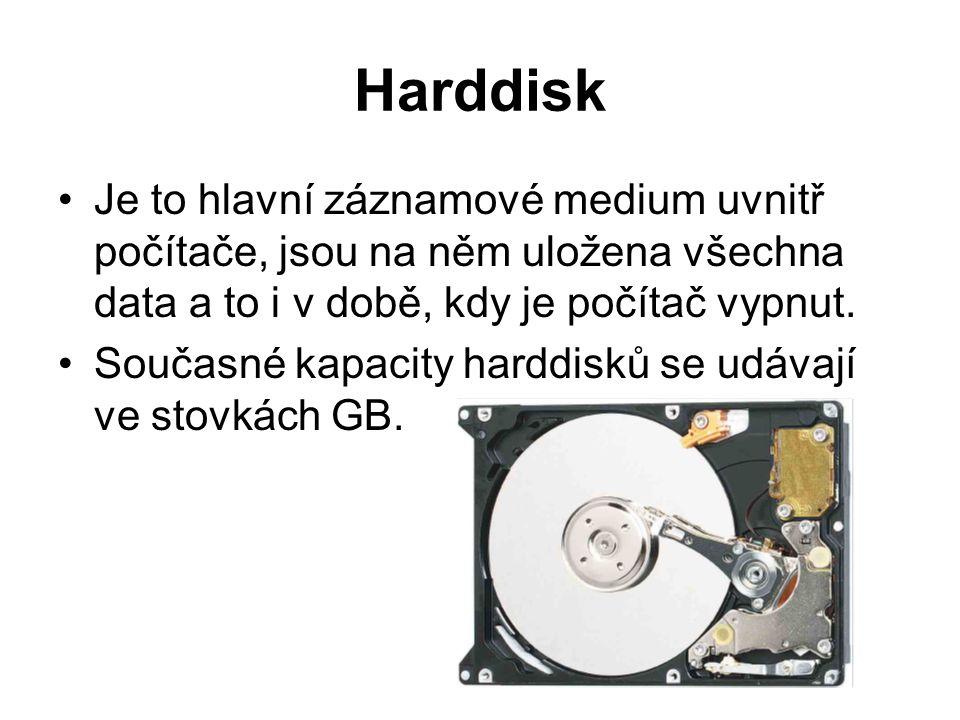 Harddisk Je to hlavní záznamové medium uvnitř počítače, jsou na něm uložena všechna data a to i v době, kdy je počítač vypnut. Současné kapacity hardd