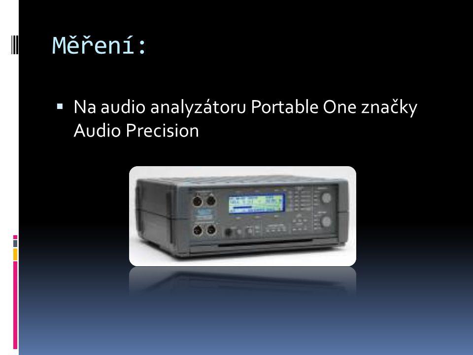 Měření:  Na audio analyzátoru Portable One značky Audio Precision
