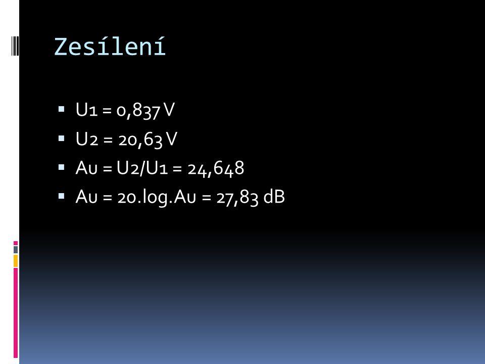 Zesílení  U1 = 0,837 V  U2 = 20,63 V  Au = U2/U1 = 24,648  Au = 20.log.Au = 27,83 dB