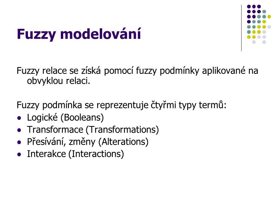 Fuzzy modelování Fuzzy relace se získá pomocí fuzzy podmínky aplikované na obvyklou relaci. Fuzzy podmínka se reprezentuje čtyřmi typy termů: Logické