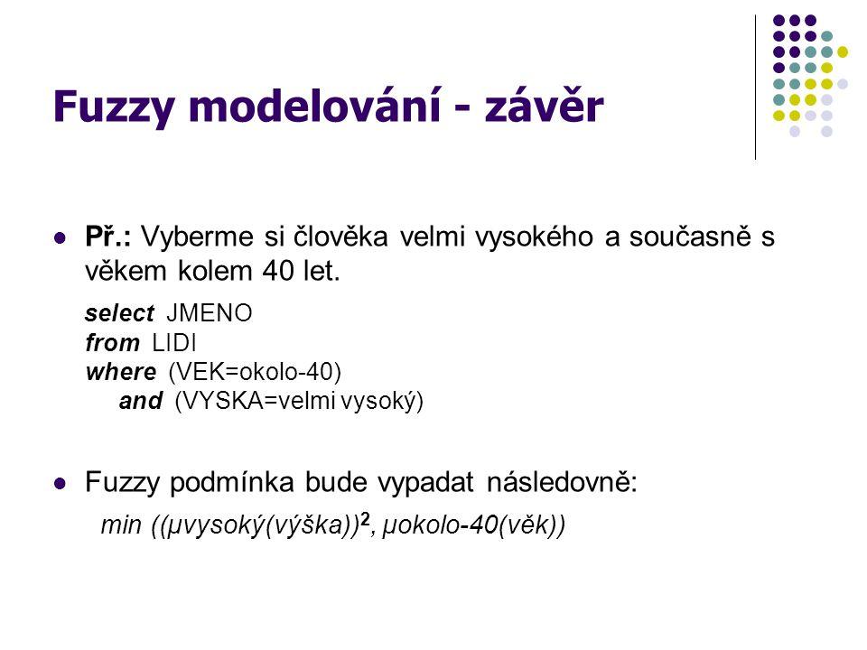 Fuzzy modelování - závěr Př.: Vyberme si člověka velmi vysokého a současně s věkem kolem 40 let. select JMENO from LIDI where (VEK=okolo-40) and (VYSK