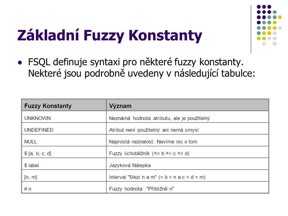 Základní Fuzzy Konstanty FSQL definuje syntaxi pro některé fuzzy konstanty. Nekteré jsou podrobně uvedeny v následující tabulce: Fuzzy KonstantyVýznam