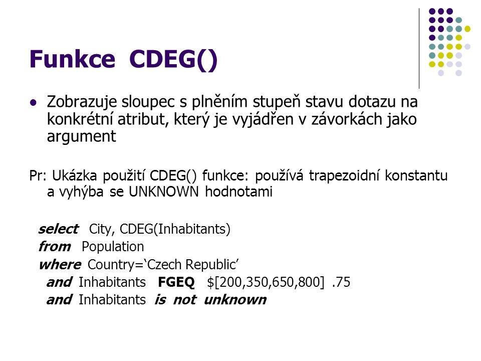 Funkce CDEG() Zobrazuje sloupec s plněním stupeň stavu dotazu na konkrétní atribut, který je vyjádřen v závorkách jako argument Pr: Ukázka použití CDE