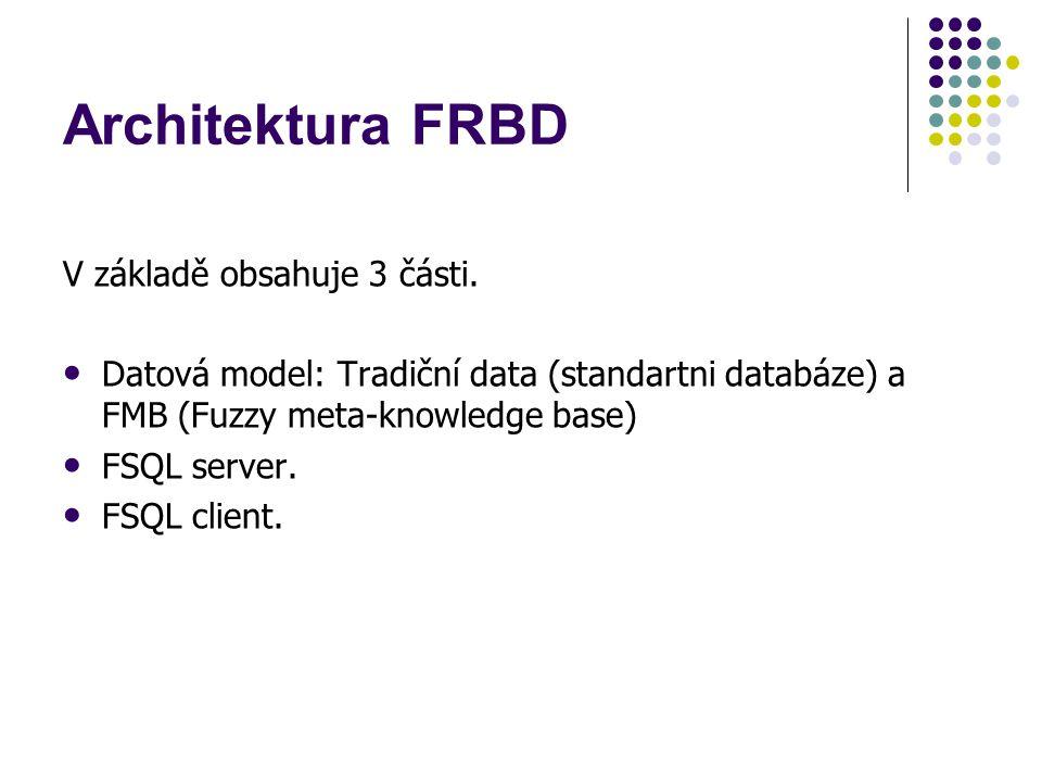 Architektura FRBD V základě obsahuje 3 části. Datová model: Tradiční data (standartni databáze) a FMB (Fuzzy meta-knowledge base) FSQL server. FSQL cl