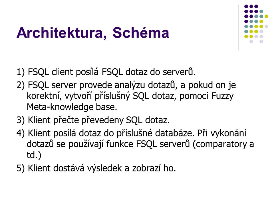 1) FSQL client posílá FSQL dotaz do serverů. 2) FSQL server provede analýzu dotazů, a pokud on je korektní, vytvoří příslušný SQL dotaz, pomoci Fuzzy