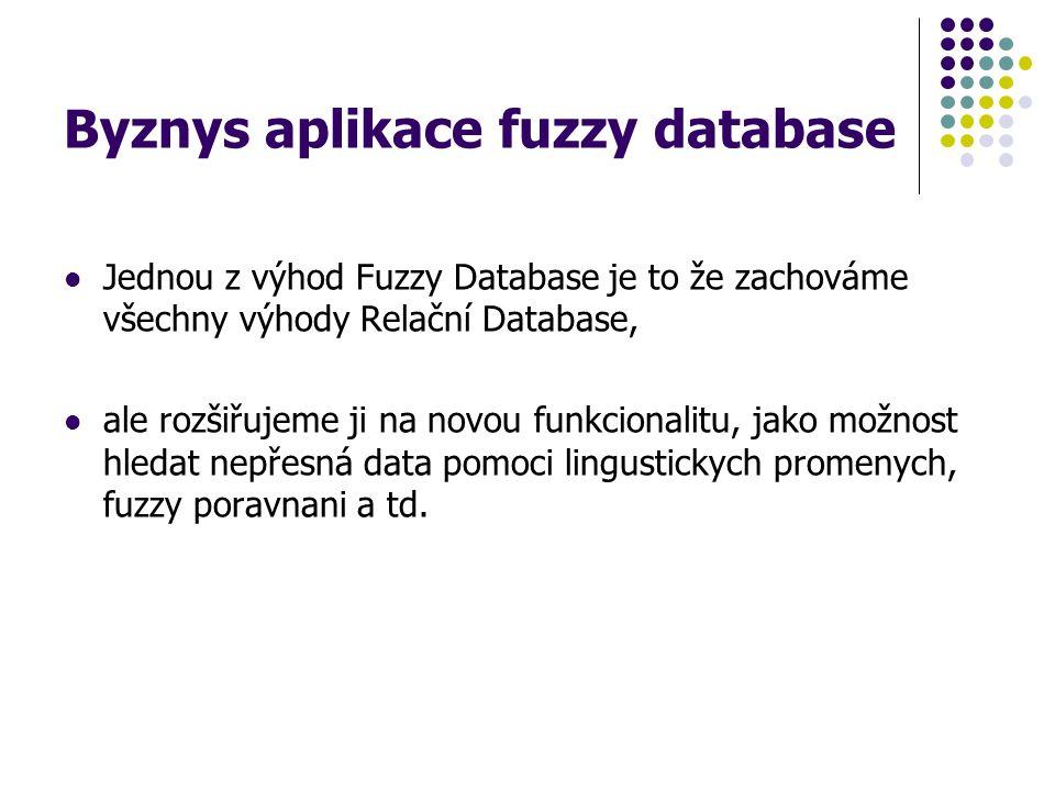 Byznys aplikace fuzzy database Jednou z výhod Fuzzy Database je to že zachováme všechny výhody Relační Database, ale rozšiřujeme ji na novou funkciona