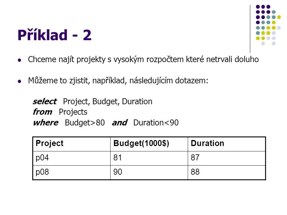 Příklad - 2 Chceme najít projekty s vysokým rozpočtem které netrvali doluho Můžeme to zjistit, například, následujícím dotazem: select Project, Budget