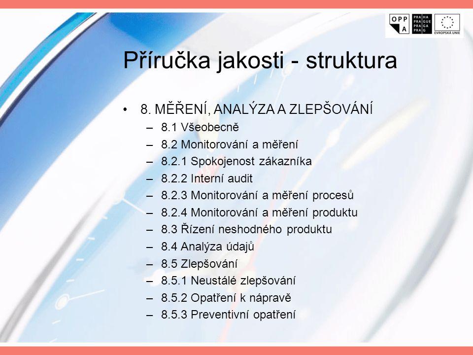 Příručka jakosti - struktura 8. MĚŘENÍ, ANALÝZA A ZLEPŠOVÁNÍ –8.1 Všeobecně –8.2 Monitorování a měření –8.2.1 Spokojenost zákazníka –8.2.2 Interní aud
