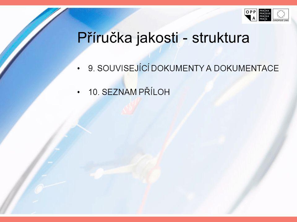 Příručka jakosti - struktura 9. SOUVISEJÍCÍ DOKUMENTY A DOKUMENTACE 10. SEZNAM PŘÍLOH