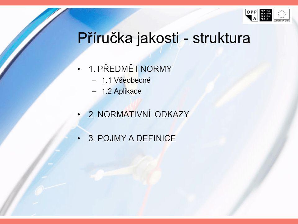 Příručka jakosti - struktura 1. PŘEDMĚT NORMY –1.1 Všeobecně –1.2 Aplikace 2. NORMATIVNÍ ODKAZY 3. POJMY A DEFINICE
