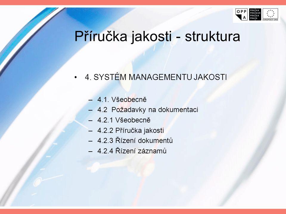 Příručka jakosti - struktura 4. SYSTÉM MANAGEMENTU JAKOSTI –4.1. Všeobecně –4.2 Požadavky na dokumentaci –4.2.1 Všeobecně –4.2.2 Příručka jakosti –4.2