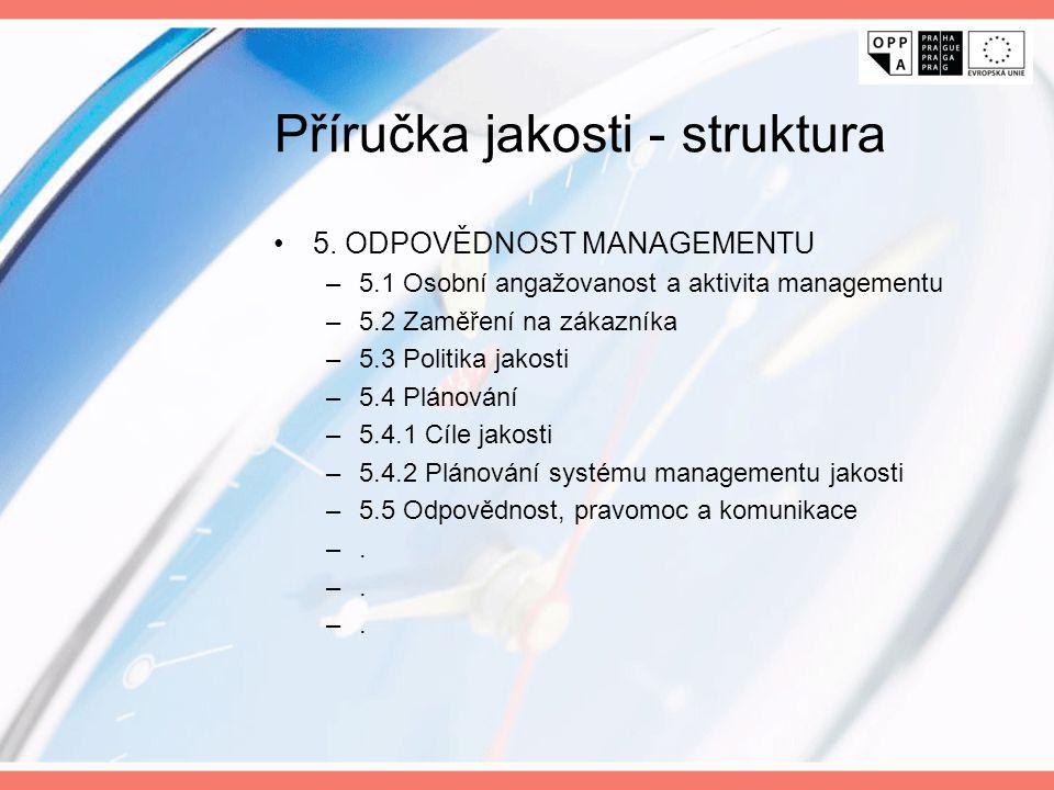 Příručka jakosti - struktura 5. ODPOVĚDNOST MANAGEMENTU –5.1 Osobní angažovanost a aktivita managementu –5.2 Zaměření na zákazníka –5.3 Politika jakos