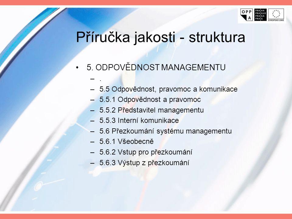 Příručka jakosti - struktura 5. ODPOVĚDNOST MANAGEMENTU –. –5.5 Odpovědnost, pravomoc a komunikace –5.5.1 Odpovědnost a pravomoc –5.5.2 Představitel m