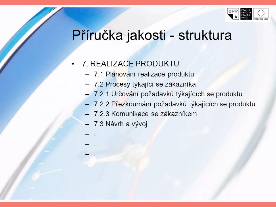 Příručka jakosti - struktura 7. REALIZACE PRODUKTU –7.1 Plánování realizace produktu –7.2 Procesy týkající se zákazníka –7.2.1 Určování požadavků týka