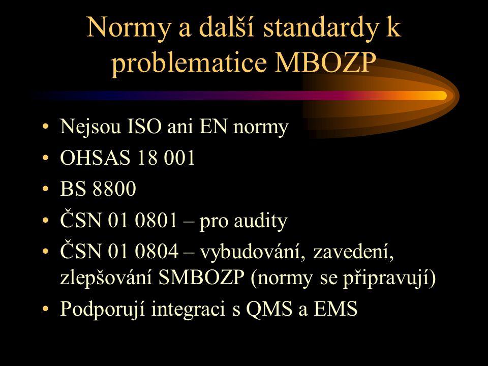 Normy a další standardy k problematice MBOZP Nejsou ISO ani EN normy OHSAS 18 001 BS 8800 ČSN 01 0801 – pro audity ČSN 01 0804 – vybudování, zavedení,