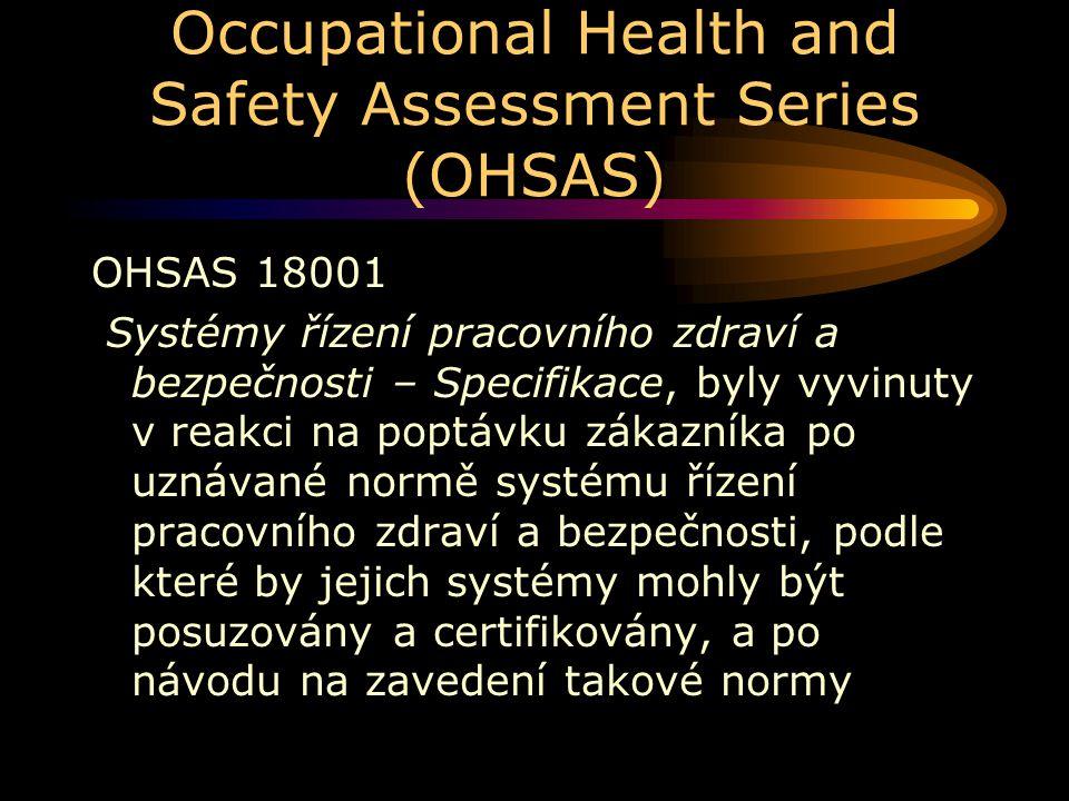 Occupational Health and Safety Assessment Series (OHSAS) OHSAS 18001 Systémy řízení pracovního zdraví a bezpečnosti – Specifikace, byly vyvinuty v rea