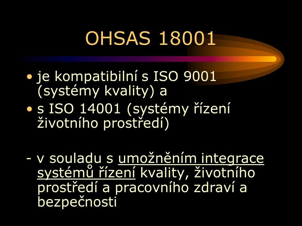 OHSAS 18001 je kompatibilní s ISO 9001 (systémy kvality) a s ISO 14001 (systémy řízení životního prostředí) - v souladu s umožněním integrace systémů