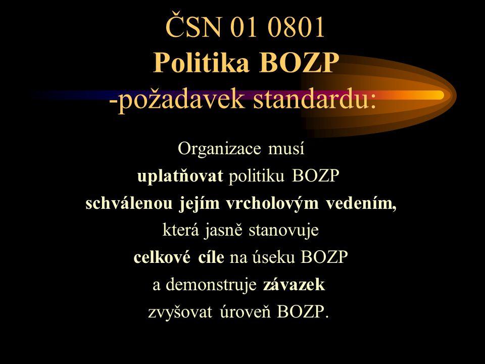ČSN 01 0801 Politika BOZP -požadavek standardu: Organizace musí uplatňovat politiku BOZP schválenou jejím vrcholovým vedením, která jasně stanovuje ce