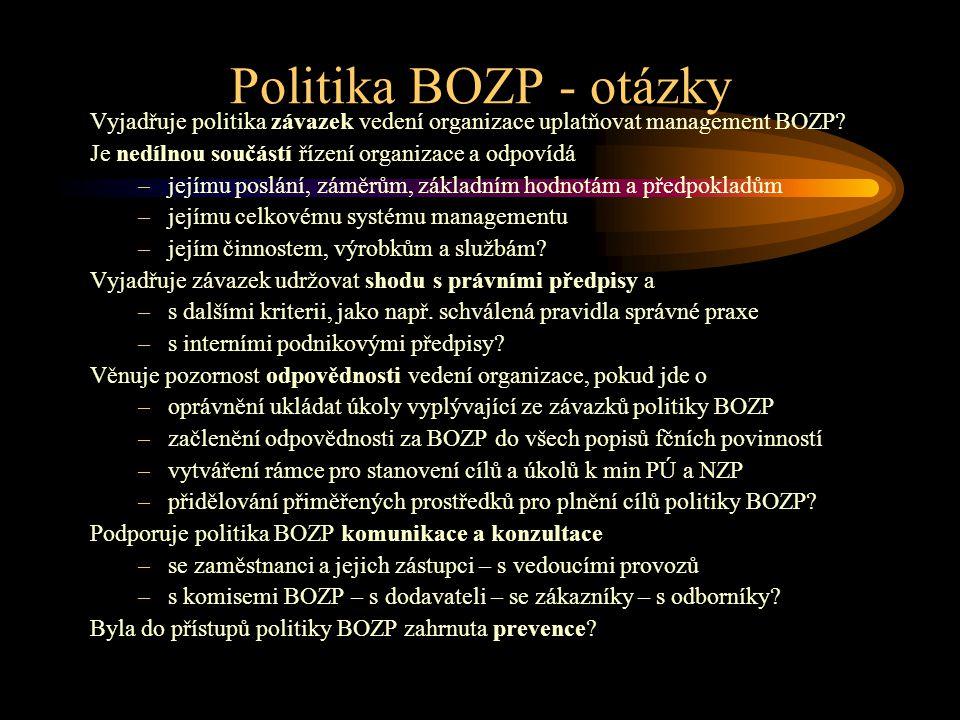 Politika BOZP - otázky Vyjadřuje politika závazek vedení organizace uplatňovat management BOZP? Je nedílnou součástí řízení organizace a odpovídá –jej