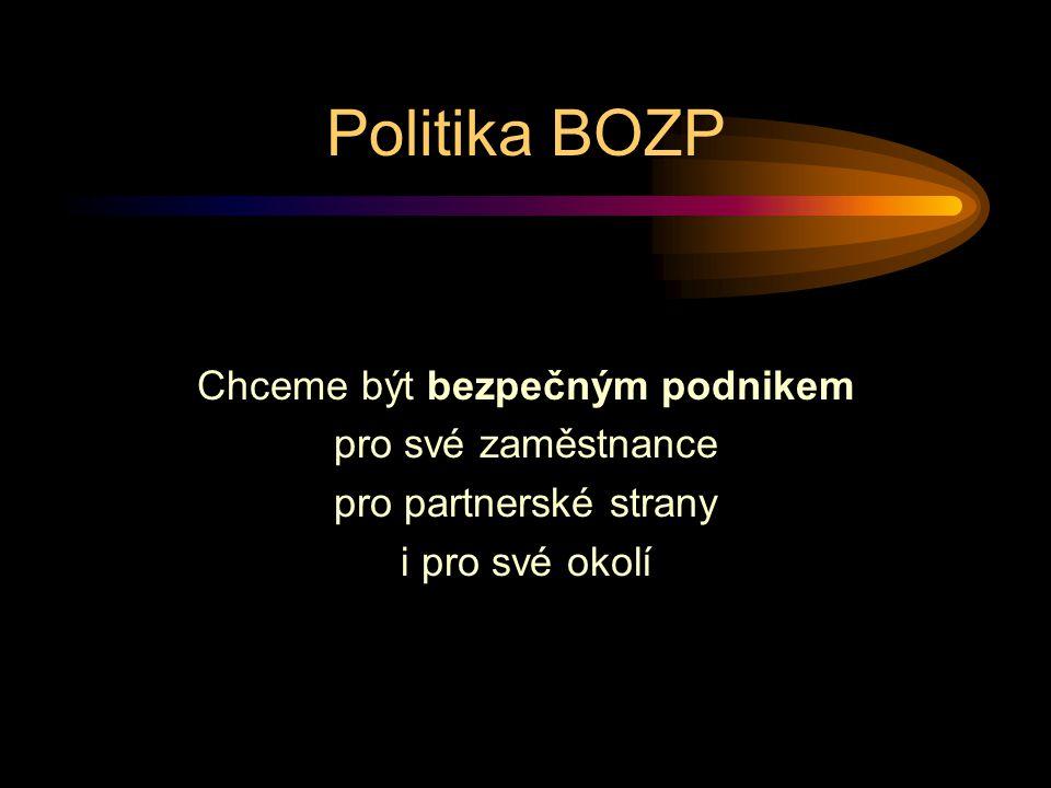 Politika BOZP Chceme být bezpečným podnikem pro své zaměstnance pro partnerské strany i pro své okolí