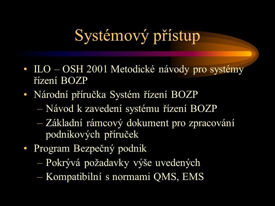 Systémový přístup ILO – OSH 2001 Metodické návody pro systémy řízení BOZP Národní příručka Systém řízení BOZP –Návod k zavedení systému řízení BOZP –Z