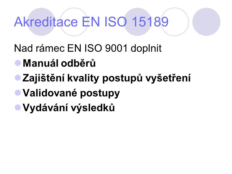 Akreditace EN ISO 15189 Nad rámec EN ISO 9001 doplnit Manuál odběrů Zajištění kvality postupů vyšetření Validované postupy Vydávání výsledků
