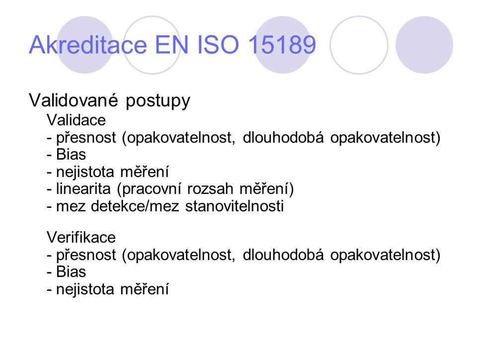 Akreditace EN ISO 15189 Validované postupy Validace - přesnost (opakovatelnost, dlouhodobá opakovatelnost) - Bias - nejistota měření - linearita (pracovní rozsah měření) - mez detekce/mez stanovitelnosti Verifikace - přesnost (opakovatelnost, dlouhodobá opakovatelnost) - Bias - nejistota měření