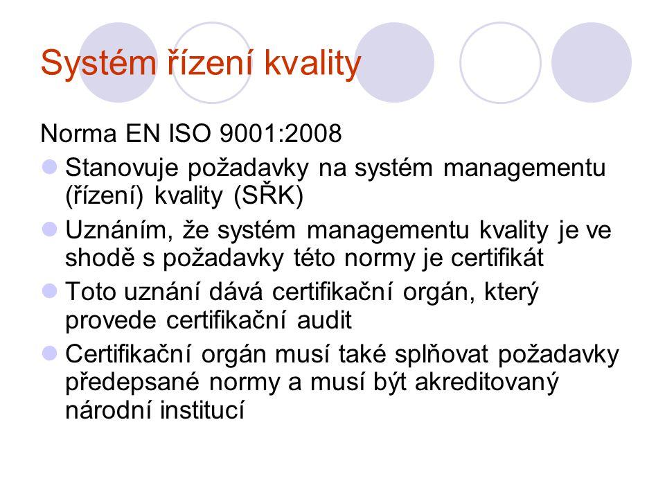 Systém řízení kvality Norma EN ISO 9001:2008 Stanovuje požadavky na systém managementu (řízení) kvality (SŘK) Uznáním, že systém managementu kvality je ve shodě s požadavky této normy je certifikát Toto uznání dává certifikační orgán, který provede certifikační audit Certifikační orgán musí také splňovat požadavky předepsané normy a musí být akreditovaný národní institucí