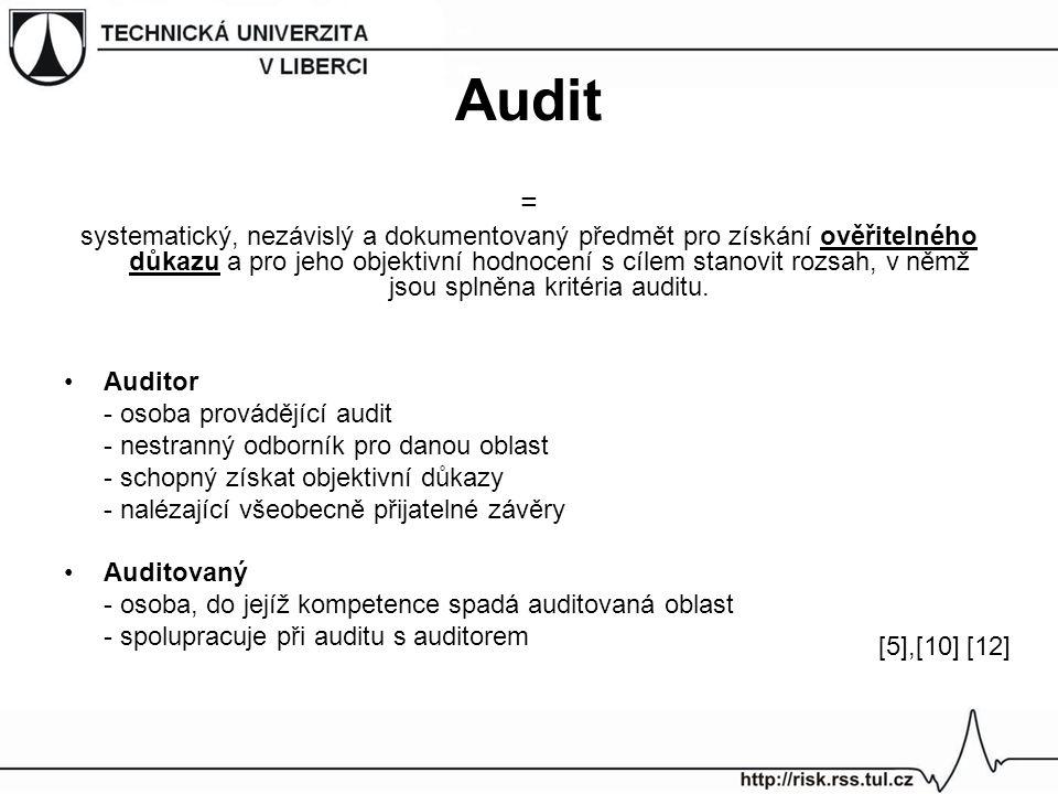 Audit = systematický, nezávislý a dokumentovaný předmět pro získání ověřitelného důkazu a pro jeho objektivní hodnocení s cílem stanovit rozsah, v něm