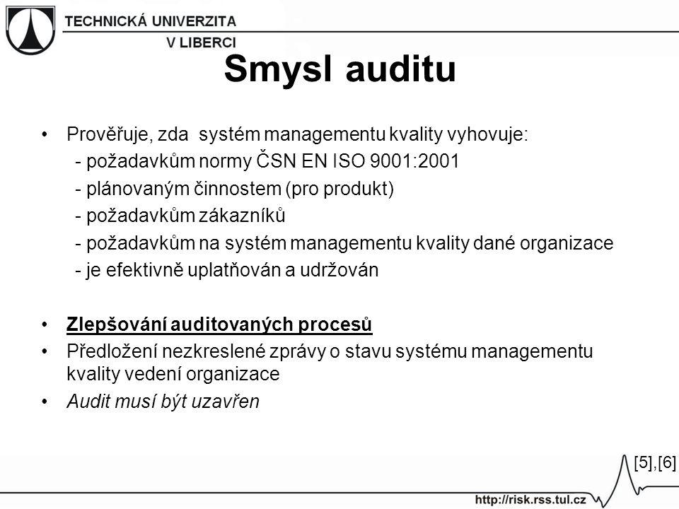 Smysl auditu Prověřuje, zda systém managementu kvality vyhovuje: - požadavkům normy ČSN EN ISO 9001:2001 - plánovaným činnostem (pro produkt) - požadavkům zákazníků - požadavkům na systém managementu kvality dané organizace - je efektivně uplatňován a udržován Zlepšování auditovaných procesů Předložení nezkreslené zprávy o stavu systému managementu kvality vedení organizace Audit musí být uzavřen [5],[6][5],[6]