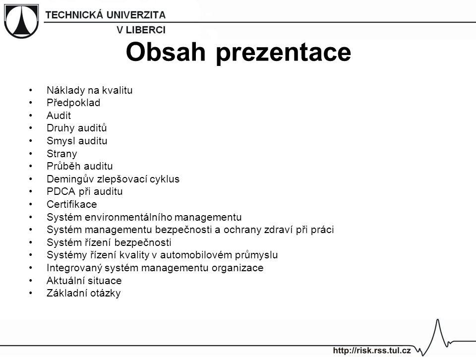 Systém environmentálního managementu ČSN EN ISO 14001:2005 Systémy environmentálního managementu - Požadavky s návodem pro použití ČSN EN ISO 14004:2005 Systémy environmentálního managementu - Všeobecná směrnice k zásadám, systémům a podpůrným metodám Stanovují systematický přístup k péči o životní prostředí Jsou aplikovatelné na část nebo celou organizaci Uspokojují potřeby většího okruhu zainteresovaných stran Celosvětová působnost Systém je možno certifikovat Důraz na havarijní prevenci a reakci, vyšší vymahatelnost Veřejnou dokumentací je environmentální politika [6],[13]