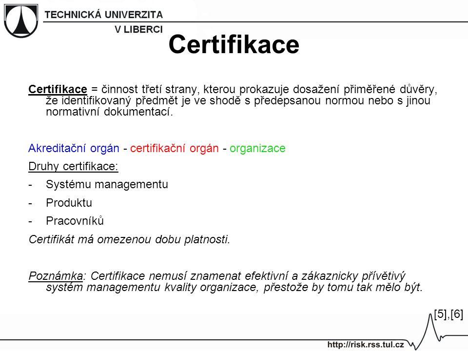 Certifikace Certifikace = činnost třetí strany, kterou prokazuje dosažení přiměřené důvěry, že identifikovaný předmět je ve shodě s předepsanou normou nebo s jinou normativní dokumentací.