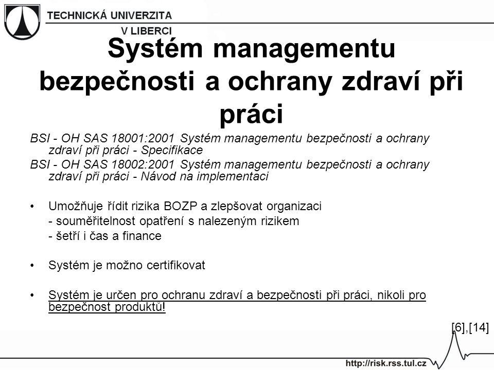 Systém managementu bezpečnosti a ochrany zdraví při práci BSI - OH SAS 18001:2001 Systém managementu bezpečnosti a ochrany zdraví při práci - Specifikace BSI - OH SAS 18002:2001 Systém managementu bezpečnosti a ochrany zdraví při práci - Návod na implementaci Umožňuje řídit rizika BOZP a zlepšovat organizaci - souměřitelnost opatření s nalezeným rizikem - šetří i čas a finance Systém je možno certifikovat Systém je určen pro ochranu zdraví a bezpečnosti při práci, nikoli pro bezpečnost produktů.